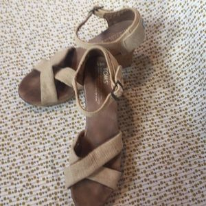 Toms Linen And Cork Wedges